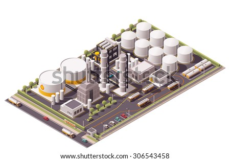 Vector isometric icon or infographic element representing low poly oil refinery plant, oil tanks, semi-trucks with cisterns, and other related facilities - stock vector
