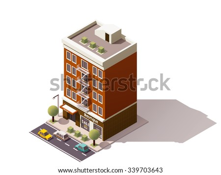 Vector isometric icon or infographic element representing low poly old town building with store
