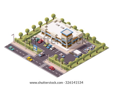 Vector isometric icon or infographic element representing low poly representing police department building with police cars on the yard