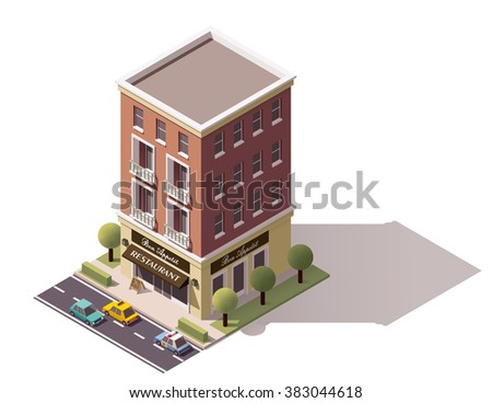 Vector isometric icon or infographic element representing low poly restaurant building, cars and trees on the street nearby
