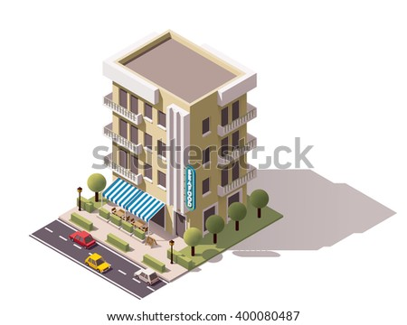 Vector isometric icon or infographic element representing low poly restaurant building with awnings, cars passing by the street