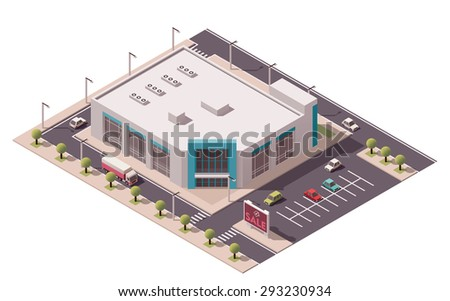 Vector isometric icon or infographic element representing low poly shopping mall or supermarket building - stock vector
