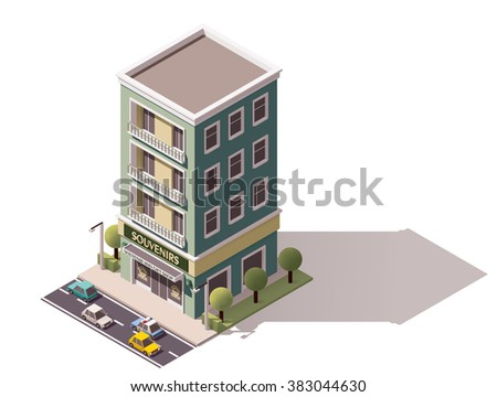 Vector isometric icon or infographic element representing low poly souvenir shop building, cars and trees on the street nearby