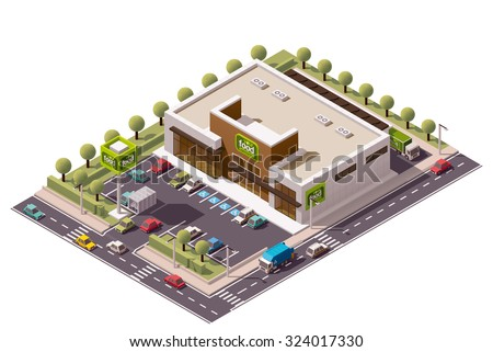 Vector isometric icon or infographic element representing low poly supermarket building with parking lot, advertising signs and supermarket carts