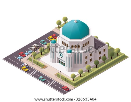Vector isometric icon or infographic element representing low poly synagogue