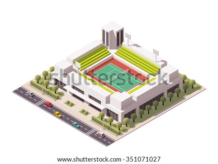 Vector isometric icon or infographic element representing low poly  tennis stadium with cars and buses on the street