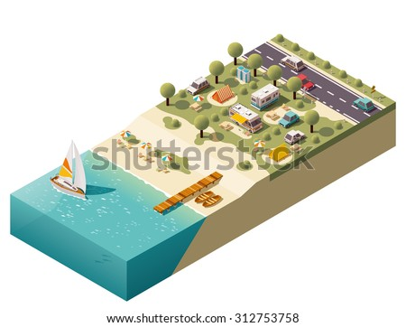 Vector isometric icon or infographic element representing low poly tourist camping, camper van and camping trailer, tents, related equipment on the sea beach - stock vector