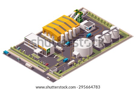 Vector isometric icon or infographic element representing low poly trash and garbage recycling plant with garbage trucks and sorting facility