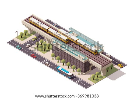 Vector Isometric icon or infographic element representing low poly urban elevated train railway with trains, station building and city transport - cars, taxi and bus - stock vector