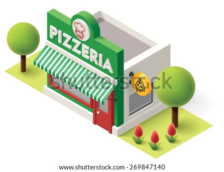 Vector Isometric icon or infographic element representing  pizzeria building. Pizzeria restaurant with neon sign - stock vector