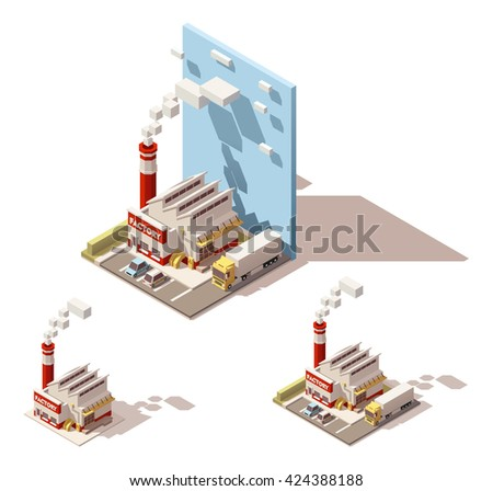Vector Isometric icon or infographic element representing plant with smoking factory pipe, truck with semi-trailer on the yard - stock vector