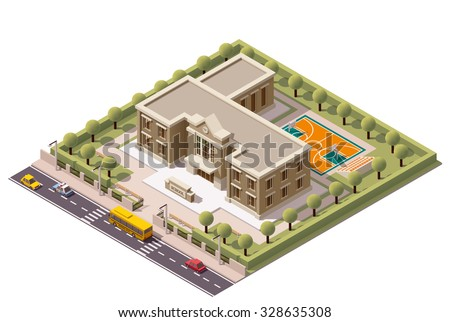 Vector Isometric icon or infographic element representing school or university building icon with school yard, school sport stadium arena, street, road, cars, and school bus - stock vector