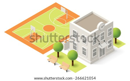 Vector Isometric icon or infographic element representing  school or university building. School building with sport stadium on the schoolyard  - stock vector