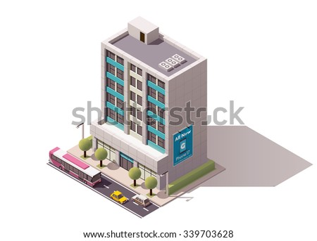 Vector isometric icon or infographic element representing town or city building, office or house with street elements, road and cars - stock vector