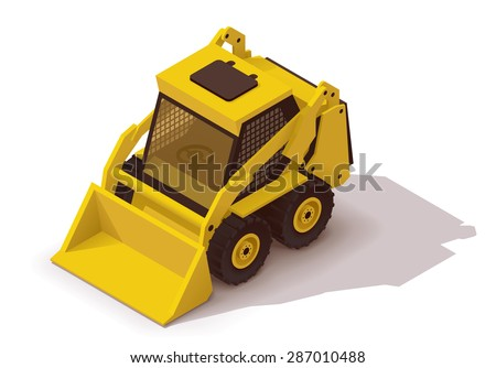 Vector Isometric icon or infographic element representing yellow mini loader, light excavator, bulldozer - stock vector