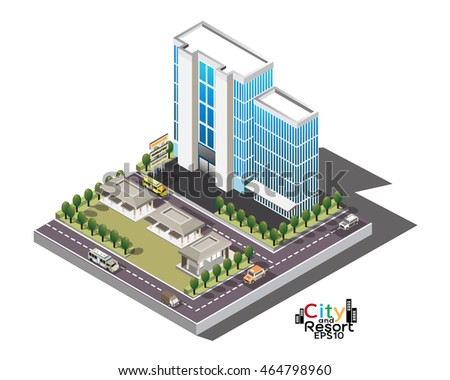 Vector isometric icon or infographic elements representing low poly town apartment building with street and cars for city map creation 3D isometric