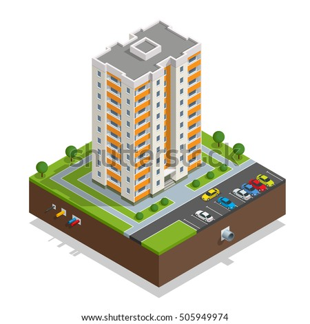 Vector isometric icon or infographic elements representing town apartment buildings and houses with street roads and cars for city map creation