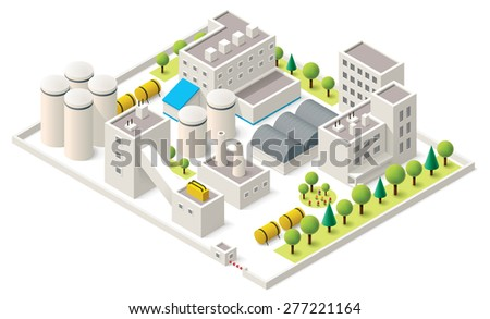 Vector isometric icon representing factory buildings with industrial structures - stock vector