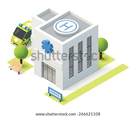 Vector isometric icon representing hospital building stock vector vector isometric icon representing hospital building with ambulance van malvernweather Images