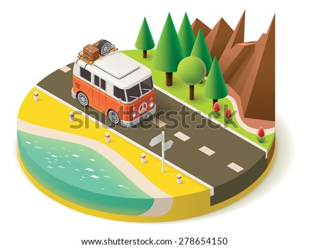 Vector isometric icon representing traveling camper van on the road near the beach and mountain