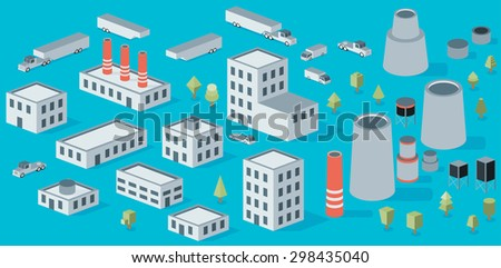 Vector isometric icon set factory production buildings - stock vector