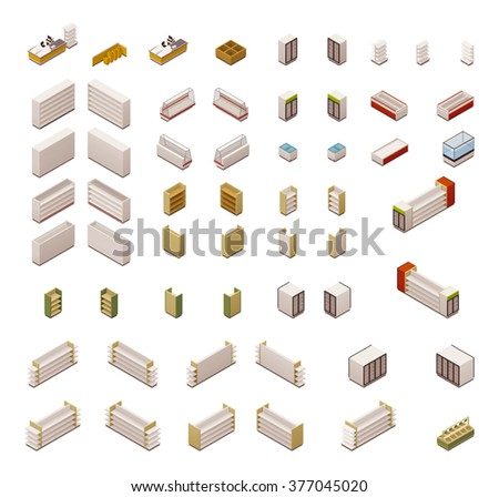 Vector isometric icon set or infographic elements representing grocery or supermarket store equipment, shelves, fridges and other furniture and electronics - stock vector
