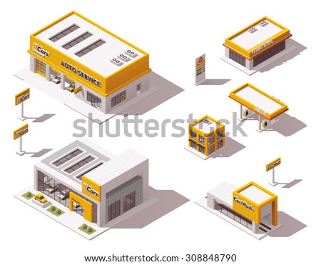 Vector isometric icon set or infographic elements representing low poly car dealership, car service and repair station, car wash buildings  - stock vector