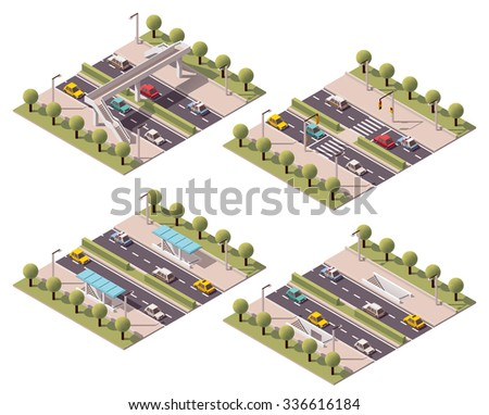 Vector isometric icon set or infographic elements representing low poly different pedestrian road crossings - footbridge, zebra and subway crossing   - stock vector