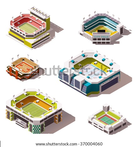 Vector isometric icon set or infographic elements representing low poly sport arenas - football (soccer), basketball, hockey, American football, tennis, baseball stadiums buildings exteriors - stock vector