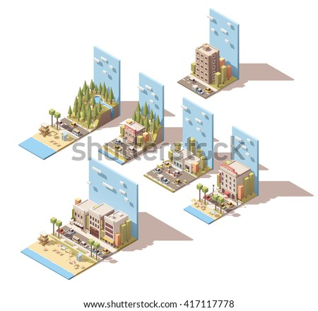 Vector Isometric icon set or infographic elements representing summer car travel to the sea beach, mountains and forest. Hotel, cafe and gas station included - stock vector