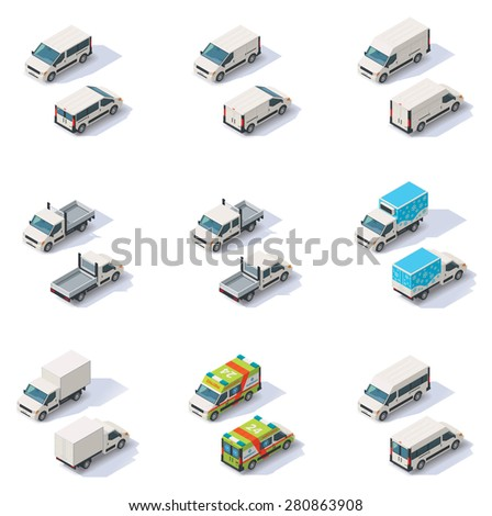 Vector isometric icon set representing different types of vans and small trucks -  commercial, cargo and ambulance - stock vector