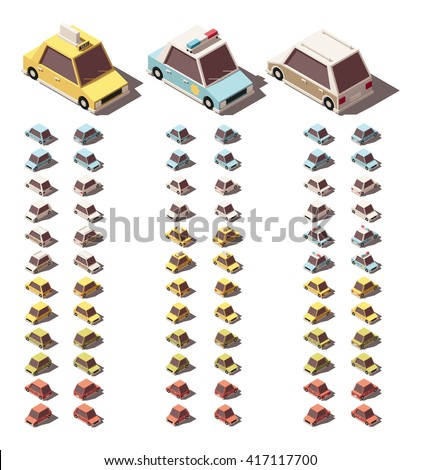 Vector Isometric icon set representing passenger cars in different views. Sedans, hatchbacks, wagons, taxi and police cars included - stock vector