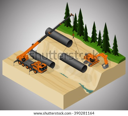 Vector isometric illustration describing the pipeline construction process, using a mobile crane and a excavator. - stock vector