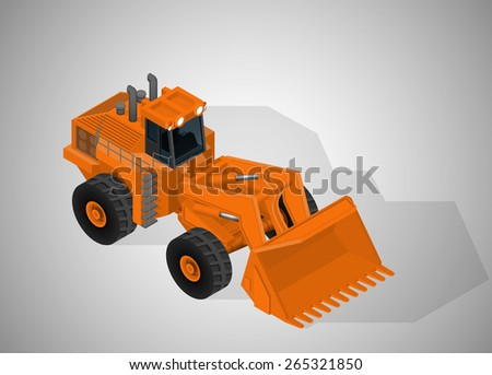Vector isometric illustration of a articulated backhoe excavator. Equipment for high-mining industry. - stock vector