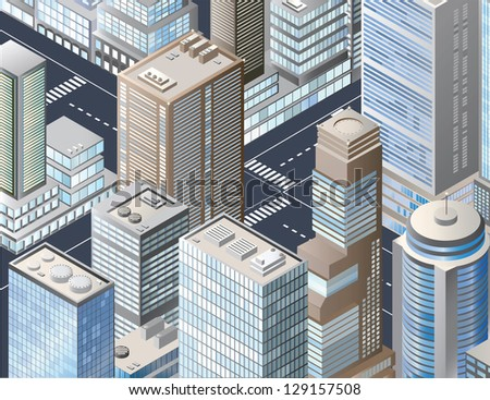 Vector isometric illustration of a city block - stock vector