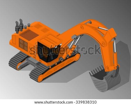 Vector isometric illustration excavator equipment construction vector isometric illustration of a excavator equipment for the construction industry sciox Choice Image