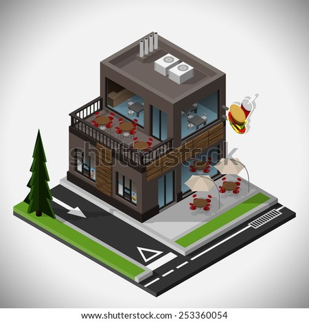 Vector isometric illustration of a fast food restaurant with a summer terrace and a point of reception of the order from the car.