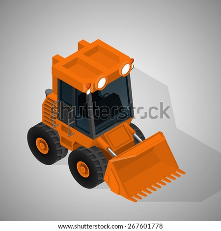 Vector isometric illustration of a mining excavator. Equipment for high-mining industry. - stock vector