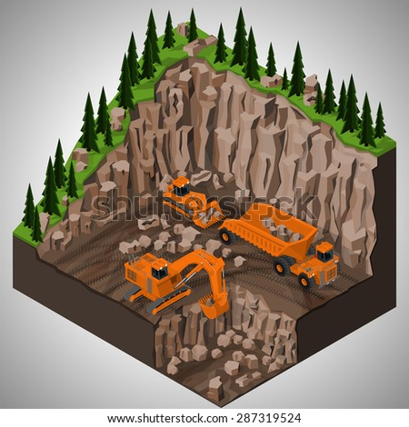 Vector isometric illustration of a mining quarry, heavy-duty dumper and a two types of mining tracked excavators. Equipment for high-mining industry. - stock vector
