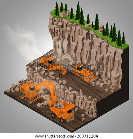 Vector isometric illustration of a mining quarry, heavy-duty truck,  articulated grader and a two types of mining tracked excavators. Equipment for high-mining industry. - stock vector