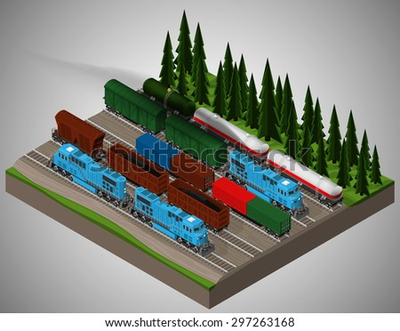 Vector isometric illustration of a railway junction. Railway trains consist of locomotives, platforms for transportation of containers, covered wagons, cisterns, and rail cars for bulk cargoes. - stock vector