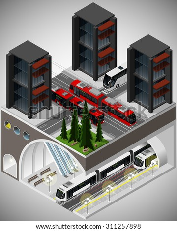 Vector isometric illustration of an element of urban infrastructure consisting of a transport hub subway, tram, trolleybus and bus lines.
