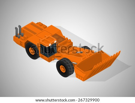 Vector isometric illustration of articulated backhoe excavator for underground mining. Equipment for high-mining. - stock vector