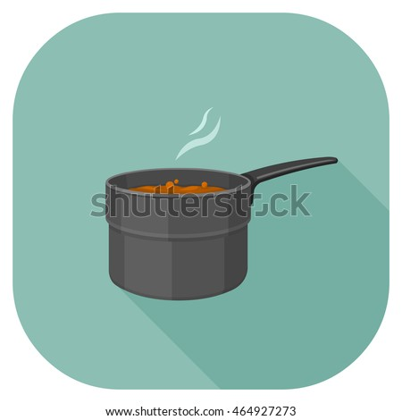 Vector isometric illustration of Hot food being cooked in a saucepan.  Food Cooking Icon.
