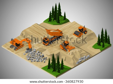 Vector isometric illustration of road construction and machinery involved. Dump truck, bulldozer, road roller and crawler excavator. - stock vector