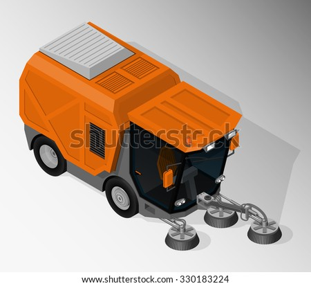 Vector isometric illustration of road sweeper. Equipment for maintenance of urban infrastructure. - stock vector