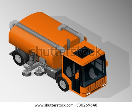 Vector isometric illustration of road sweeper truck. Equipment for maintenance of urban infrastructure. - stock vector