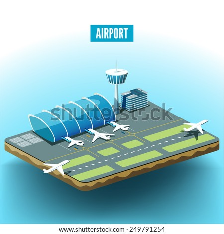 Vector isometric illustration of the airport with airplanes - stock vector