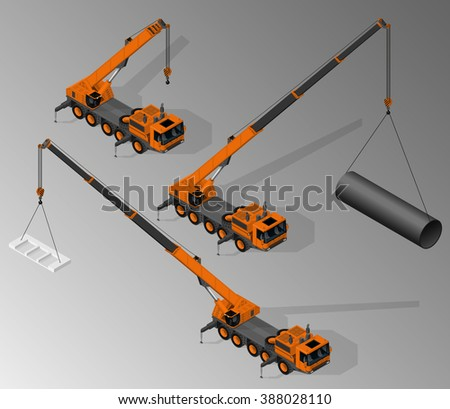 Vector isometric illustration of three views of mobile crane. Equipment for the construction industry. - stock vector