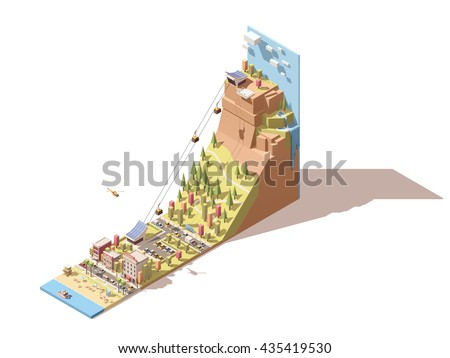 Vector Isometric infographic element or icon representing cableway travel to the viewing platform on mountain with waterfall from the town on the sea beach - stock vector